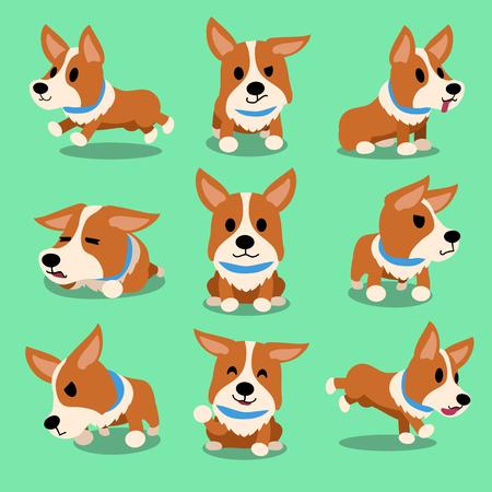 Cartoon character corgi dog poses