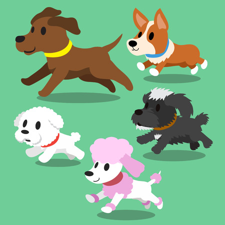 Cartoon dogs running Иллюстрация