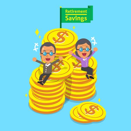 retirement savings: Cartoon senior people with retirement savings