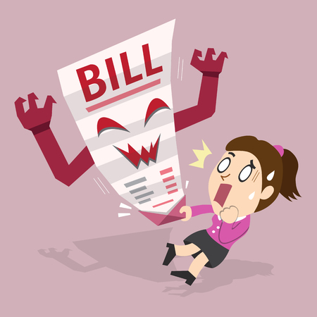bill payment: Cartoon a woman and bill payment