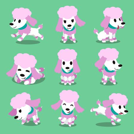 posturas del perro del carácter Caniche de la historieta