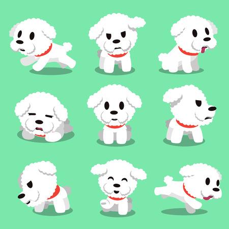 만화 캐릭터 bichon frise 강아지 포즈 일러스트