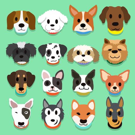 boston bull terrier: Set of cartoon dogs Illustration