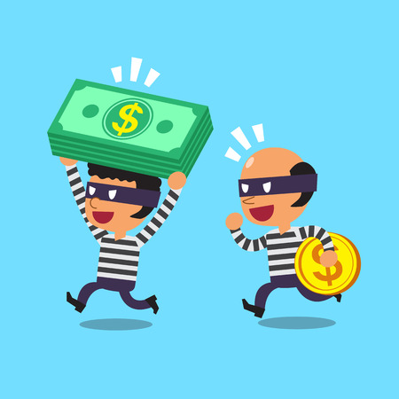 thieves: Cartoon thieves stealing money
