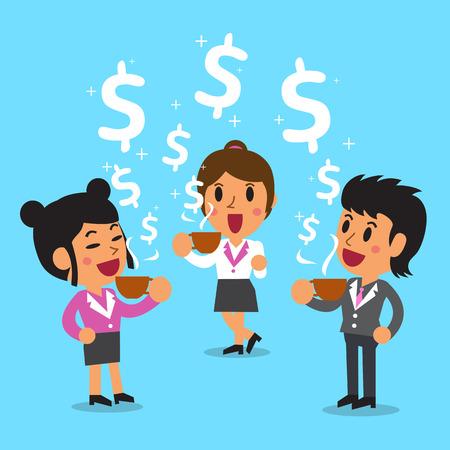 Cartoon vrouwelijke ondernemers hebben een koffiepauze