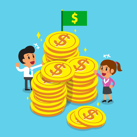 Business concept business team with big coins Illustration