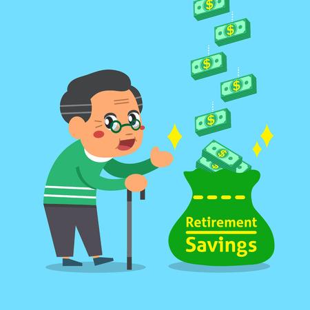 retirement savings: Cartoon old man with retirement savings bag