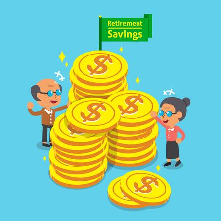 retirement savings: Cartoon senior people and retirement savings