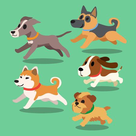Cartoon dogs running Векторная Иллюстрация