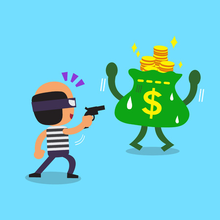 stealing: Cartoon thief stealing money Illustration