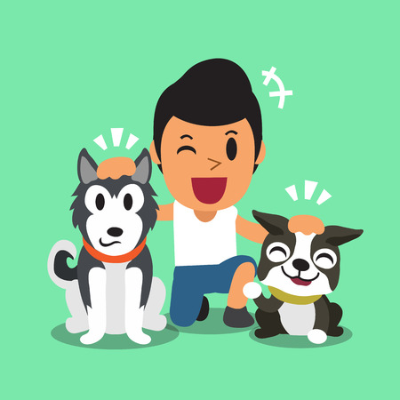 dog group: Cartoon a man and his dogs Illustration