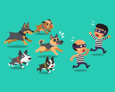 ladron: ladrones de dibujos animados y perros guardianes