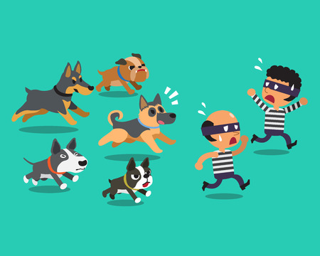 Cartoon thieves and guard dogs