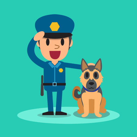 police dog: Cartoon security guard policeman with guard dog