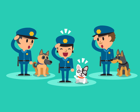 police dog: Cartoon security guard policemen with guard dogs