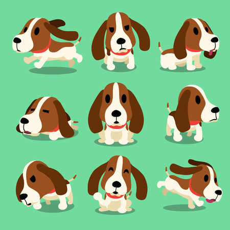 dog sleeping: Cartoon character hound dog poses