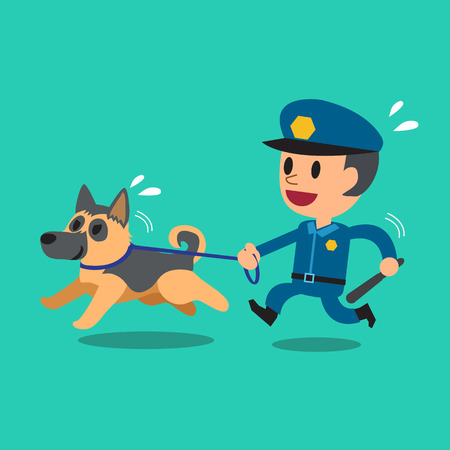 guard dog: Cartoon security guard policeman with police guard dog Illustration