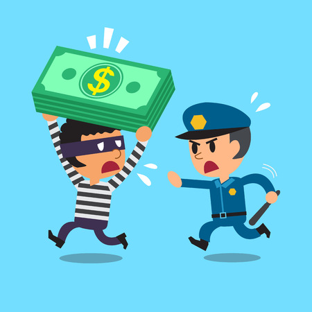 Cartoon security guard policeman and a thief Vektoros illusztráció