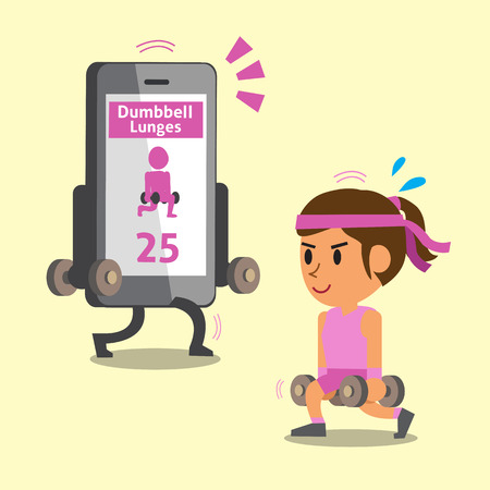 Cartoon smartphone helping a woman to do dumbbell lunge exercise