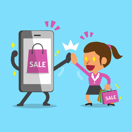 telephone icon: Cartoon a woman go shopping with smartphone Illustration