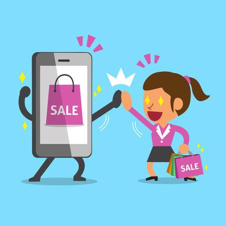 telefono caricatura: Una mujer de dibujos animados ir de compras con el teléfono inteligente Vectores