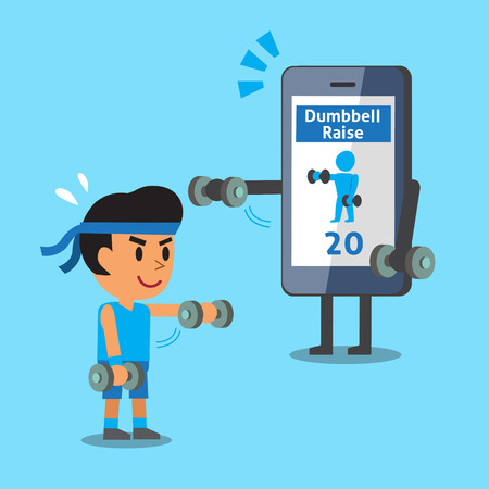 front raise: Cartoon smartphone helping a man to do front dumbbell raise exercise