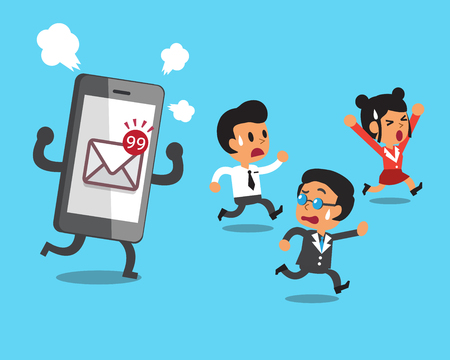 mail icon: Business team and smartphone with mail icon