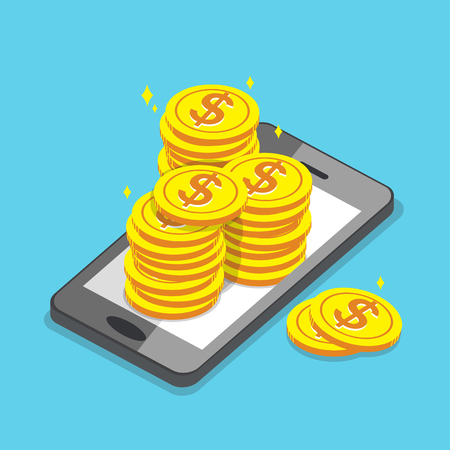 Business concept smartphone and money coins