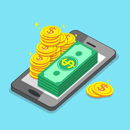 Business concept smartphone and money