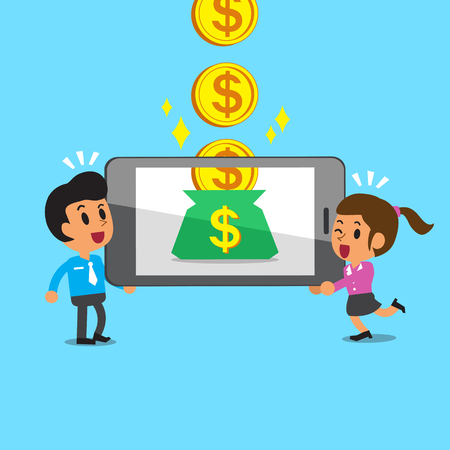 earning: Cartoon business team earning money with smartphone