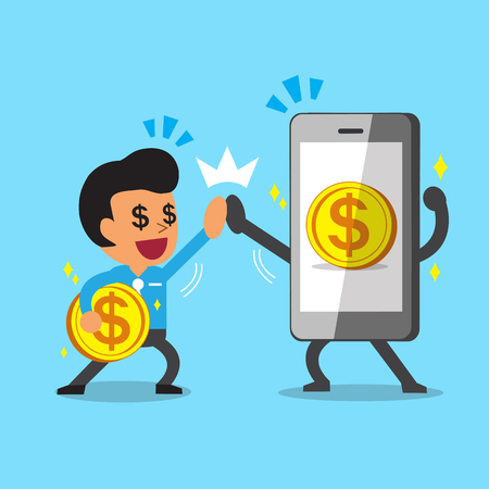 earning: Businessman and smartphone earning money