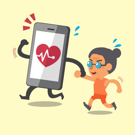 cellphone icon: Cartoon smartphone jogging with old woman