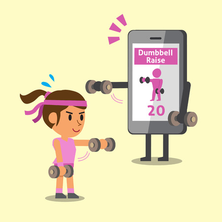 woman cellphone: Cartoon smartphone helping a woman to do front dumbbell raise exercise