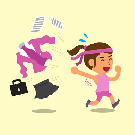 sportswear: Cartoon businesswoman changing work uniform to sportswear Illustration