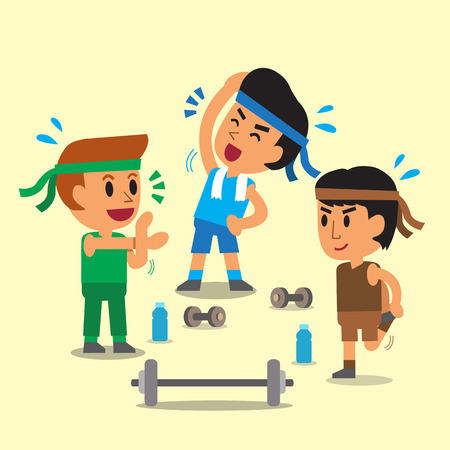 group fitness: Cartoon sport men