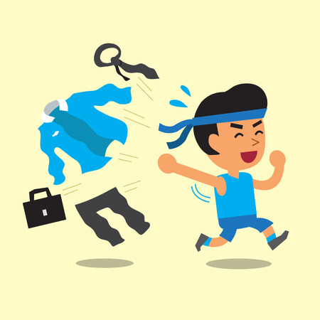 ropa deportiva: Empresario de dibujos animados cambiar uniforme de trabajo a la ropa deportiva