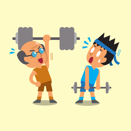 Cartoon young man and old man doing weight training