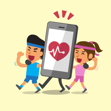 telephone icon: Cartoon sport people walking with smartphone