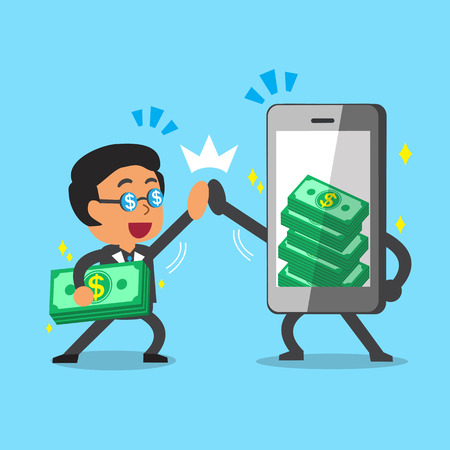 Cartoon businessman and smartphone earning money Ilustração
