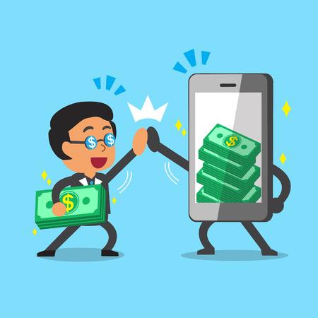 telefono caricatura: Empresario de dibujos animados y el teléfono inteligente a ganar dinero