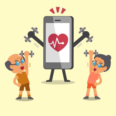 haciendo ejercicio: gente mayor del deporte de dibujos animados haciendo ejercicios de pesas con smartphone