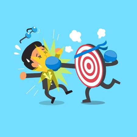 revenge: Cartoon a target punching businessman