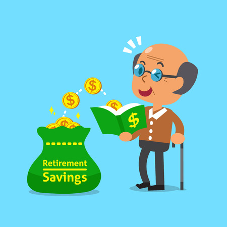 passive earnings: Cartoon old man open a book that has money coins Illustration