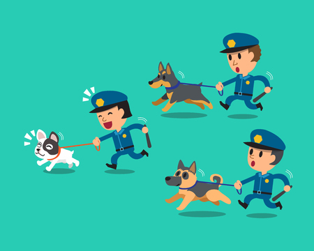 police dog: Cartoon security guard policemen with police guard dogs