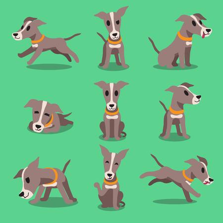 perro corriendo: personaje de dibujos animados poses perro galgo Vectores