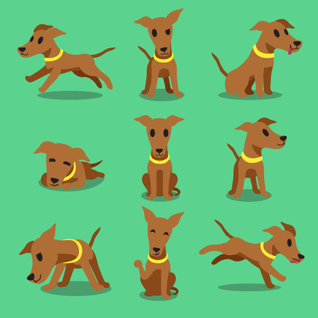 puppy dog: Cartoon character brown greyhound dog poses Illustration