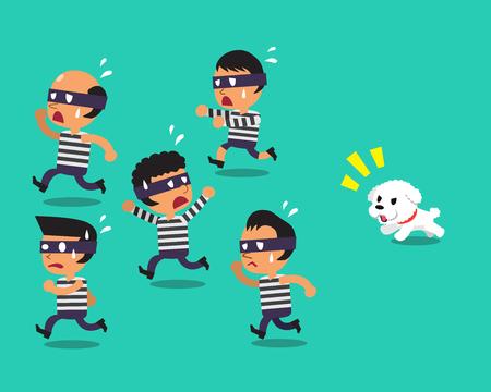 Cartoon a little dog running to catch thieves
