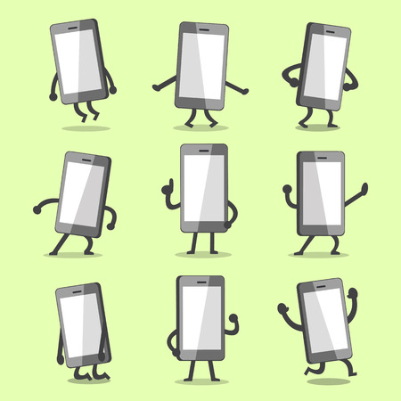 character poses: Cartoon smartphone character poses with empty screen Illustration