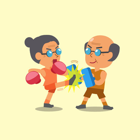 kickboxing: Cartoon sport old woman and old man doing kickboxing training