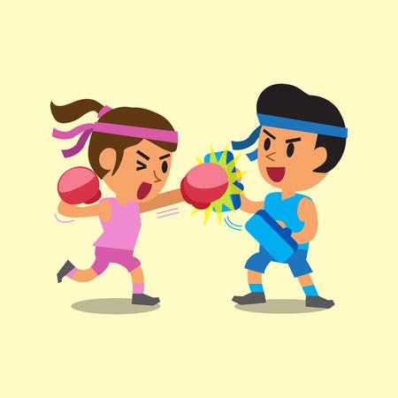 Cartoon sport woman and man doing boxing training